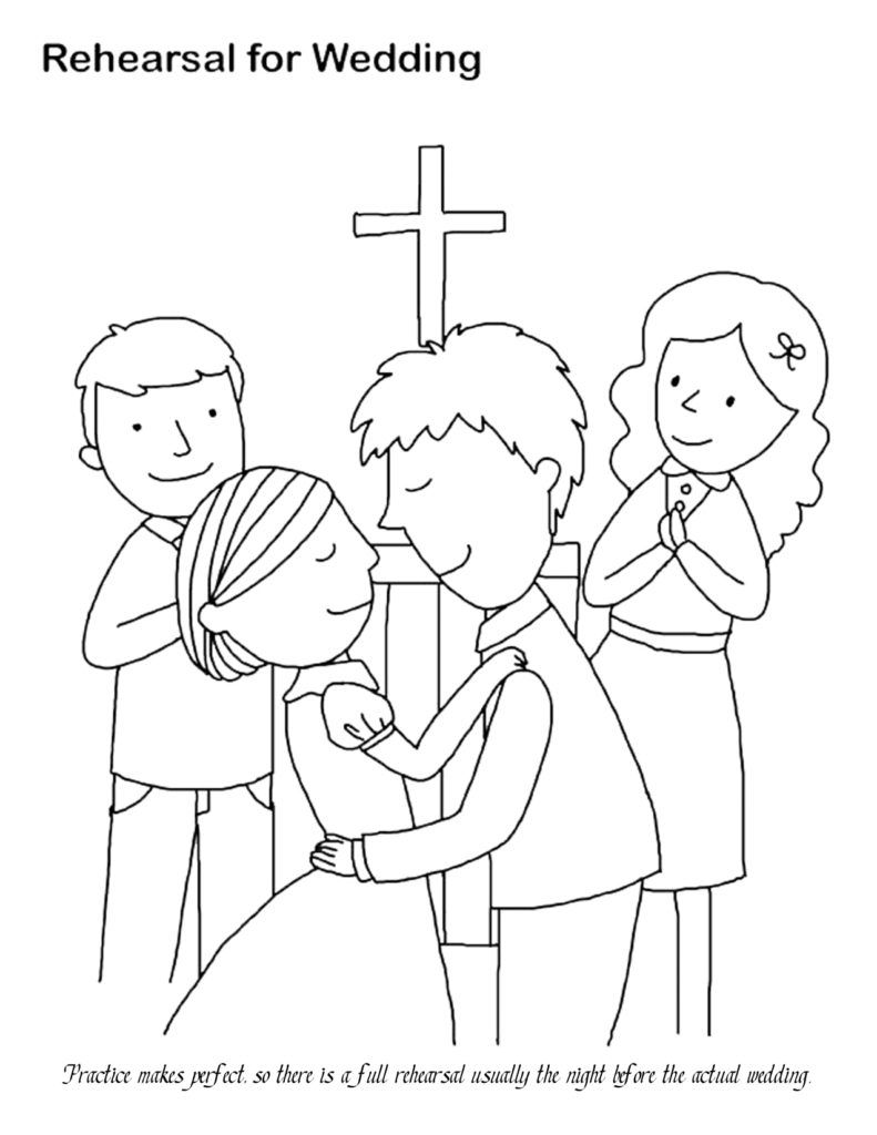 Coloring pages for kids at wedding coloring home for Marriage coloring pages