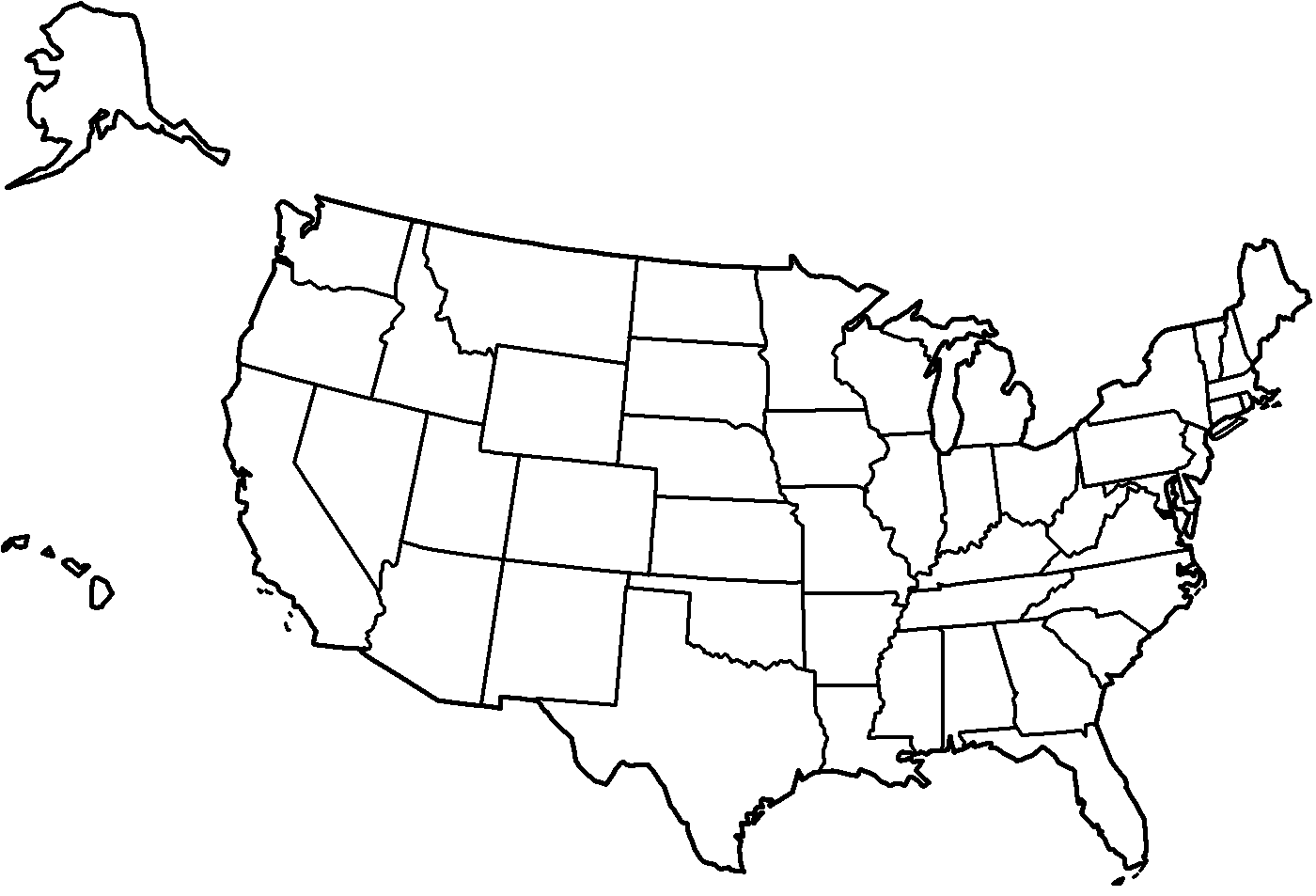 Coloring Page United States Map - Coloring Home