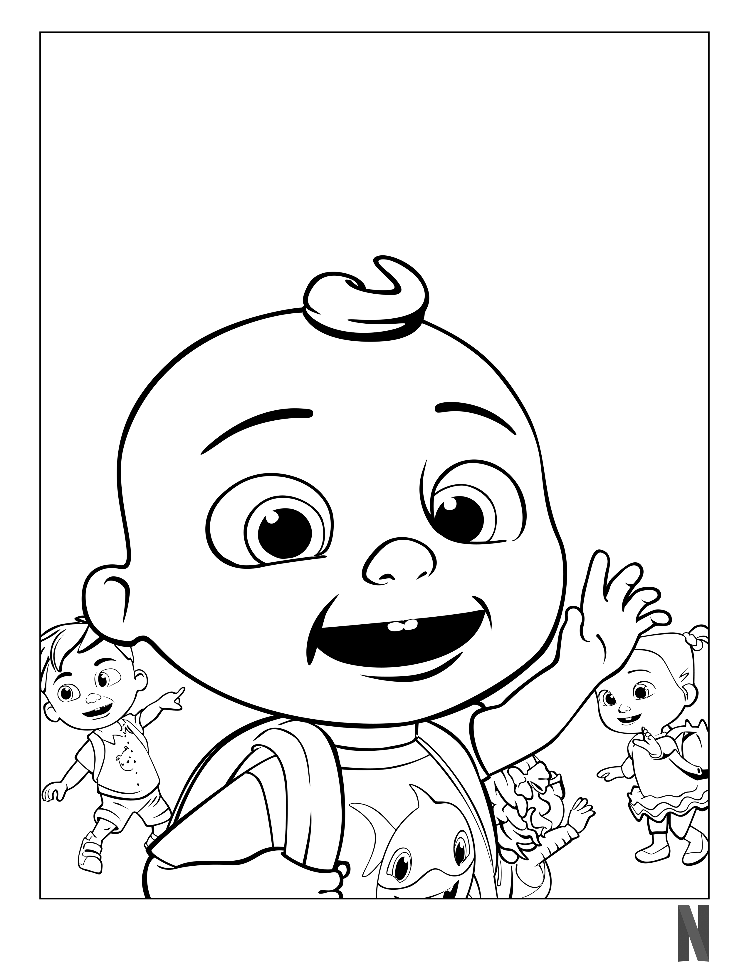 Cocomelon Coloring Page in 2020 | Coloring pages, Character, Fictional  characters