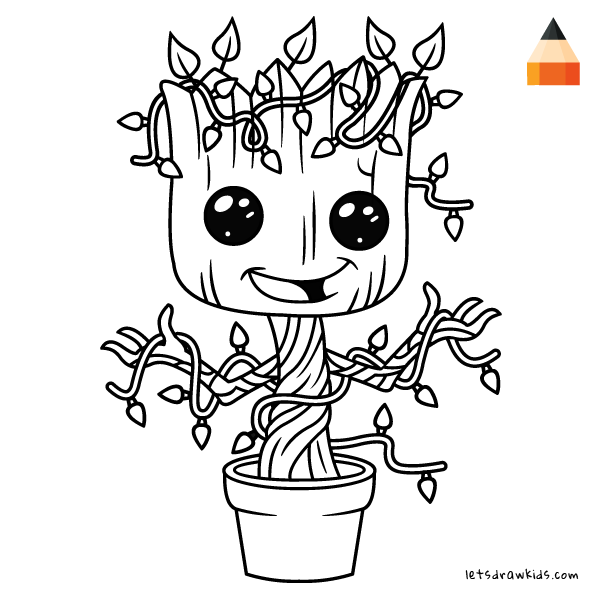 How To Draw Baby Groot for Christmasletsdrawkids.com