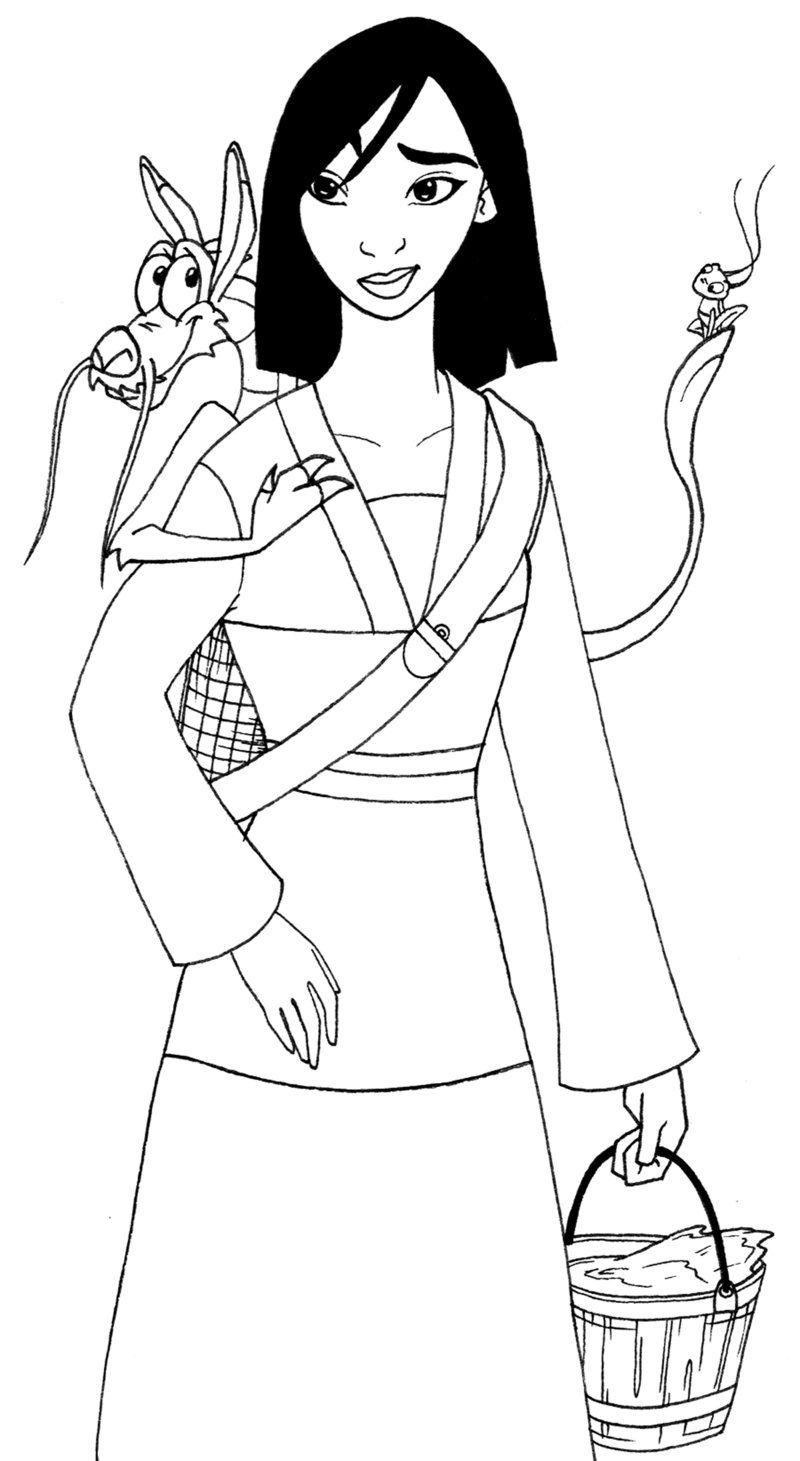 Mulan And Mushu Coloring Pages