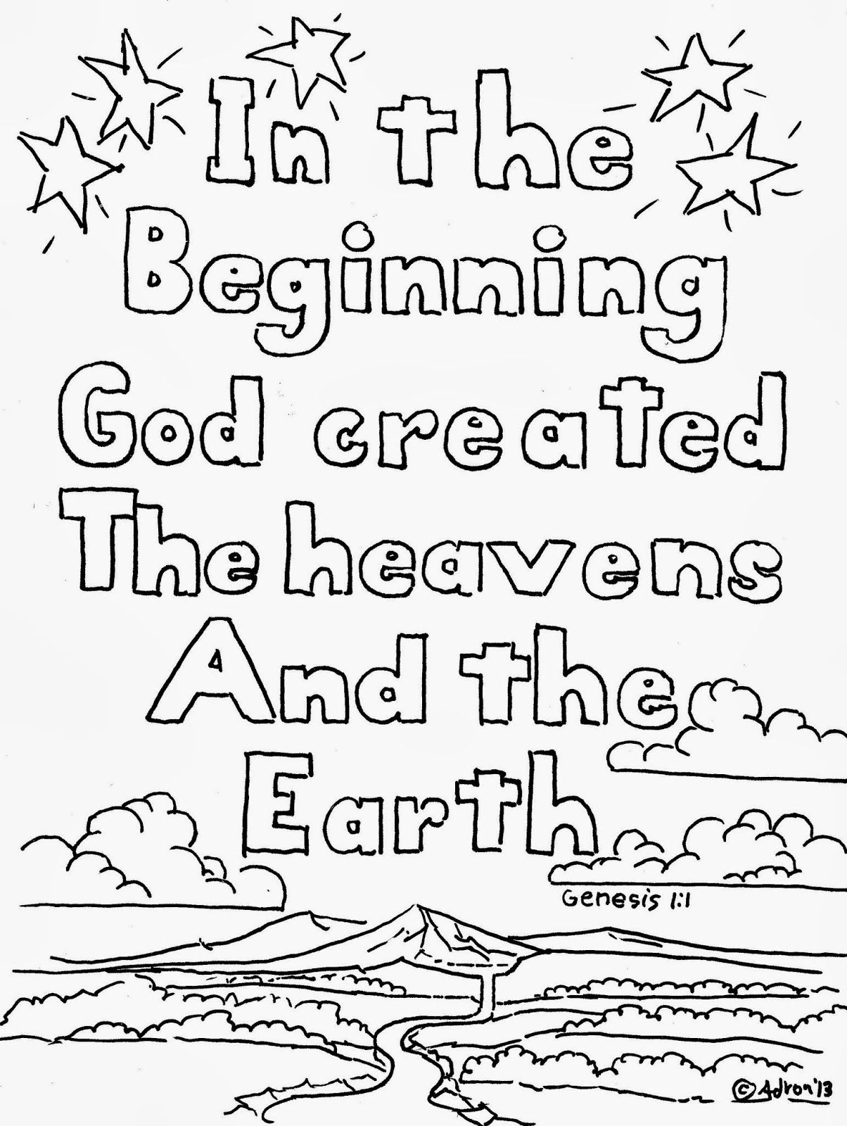 In The Beginning God Created Coloring