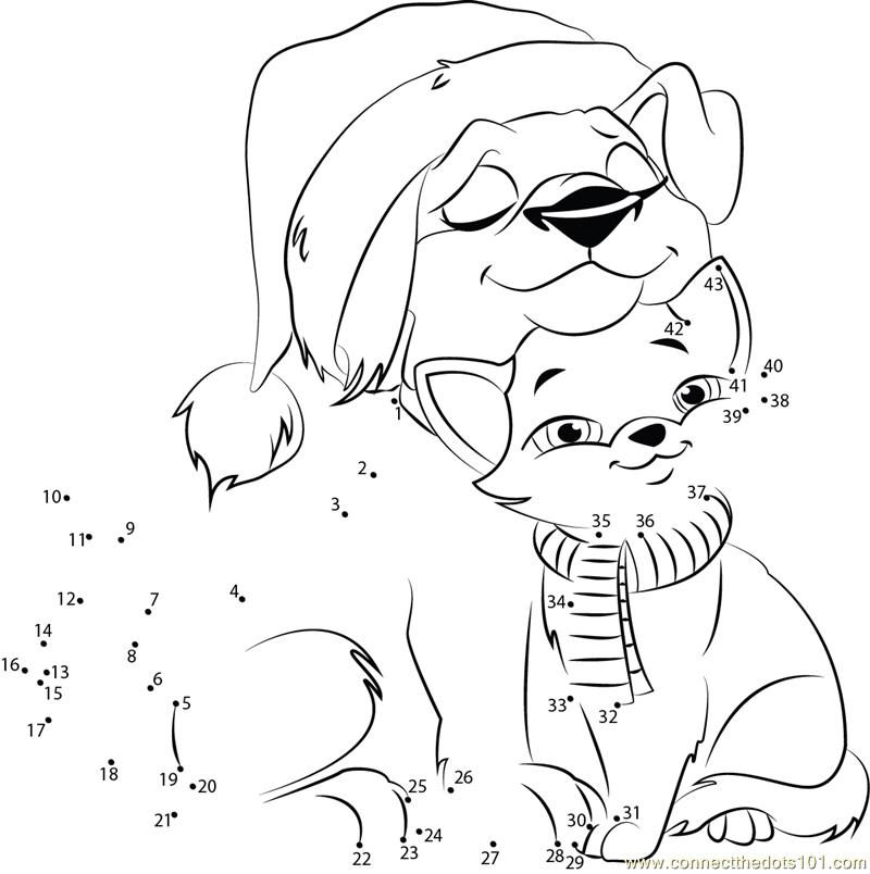 Christmas connect the dots printables coloring home for Christmas kitten coloring pages