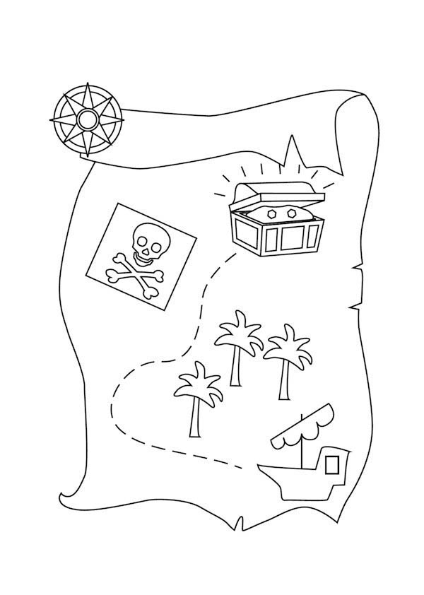 Pirate Treasure Map Coloring Pages Az Coloring Pages Treasure Map Coloring Page