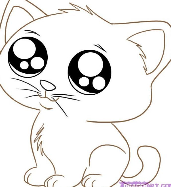 cute animals coloring pages cat - Cute Animal Coloring Pages