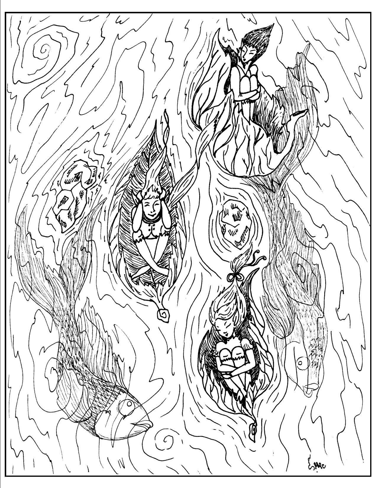 Detailed coloring pages for adults printable fantasy for S mac coloring pages