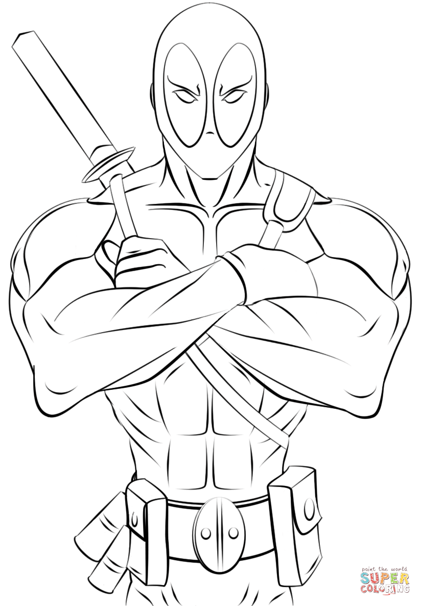 Deadpool coloring page | Free Printable Coloring Pages