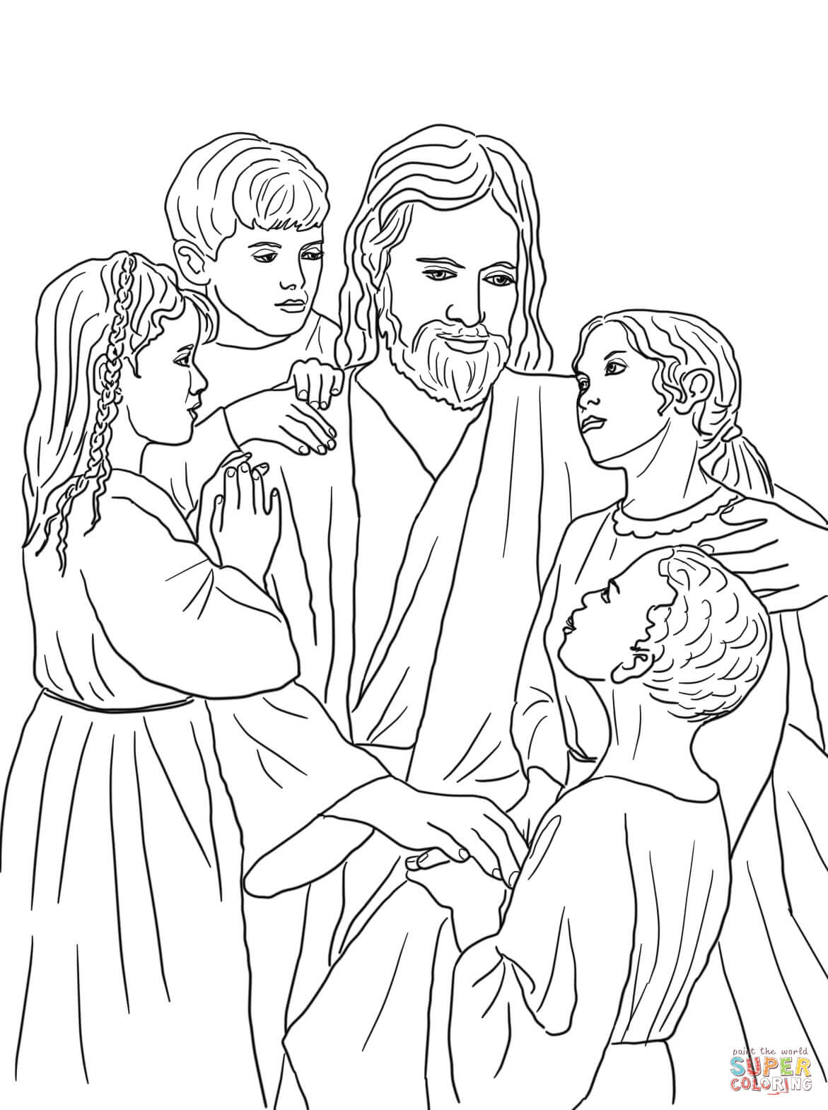 Coloring Pages Jesus And The Children Coloring Pages jesus loves the little children coloring pages az all of world page