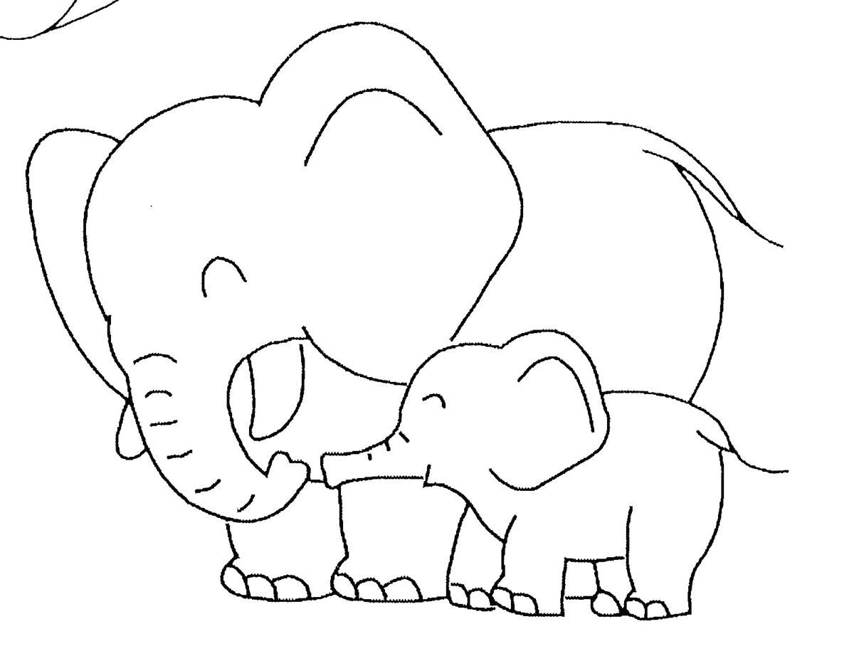 Mom And Son Elephant Coloring Pages Free Picture