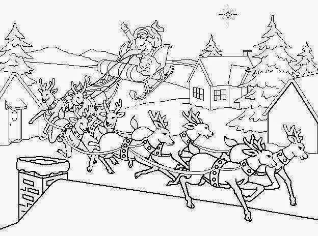 christmas santa and reindeer color santa in flight worksheet