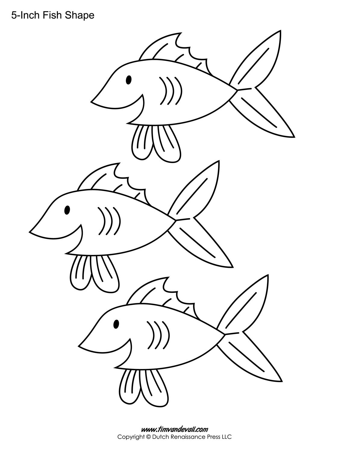 Printable fish cutouts coloring home for Fish shape template