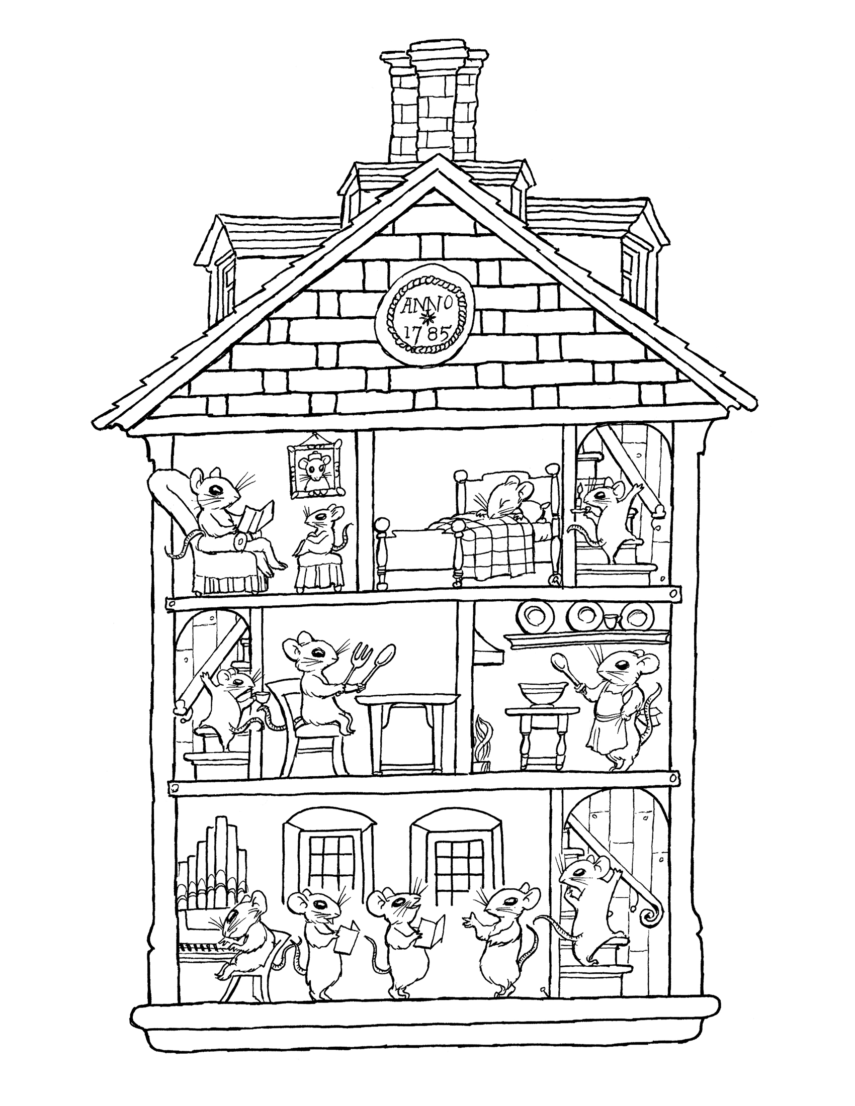 Coloring pages house rooms google twit
