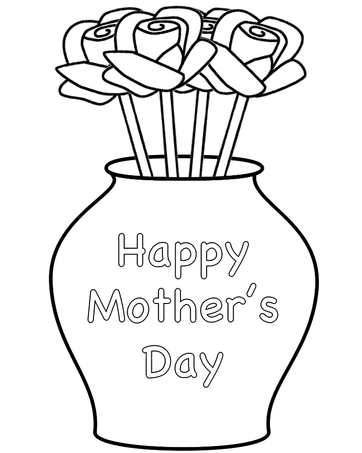 Roses in a Vase with theme - Coloring Page (Mother's Day)
