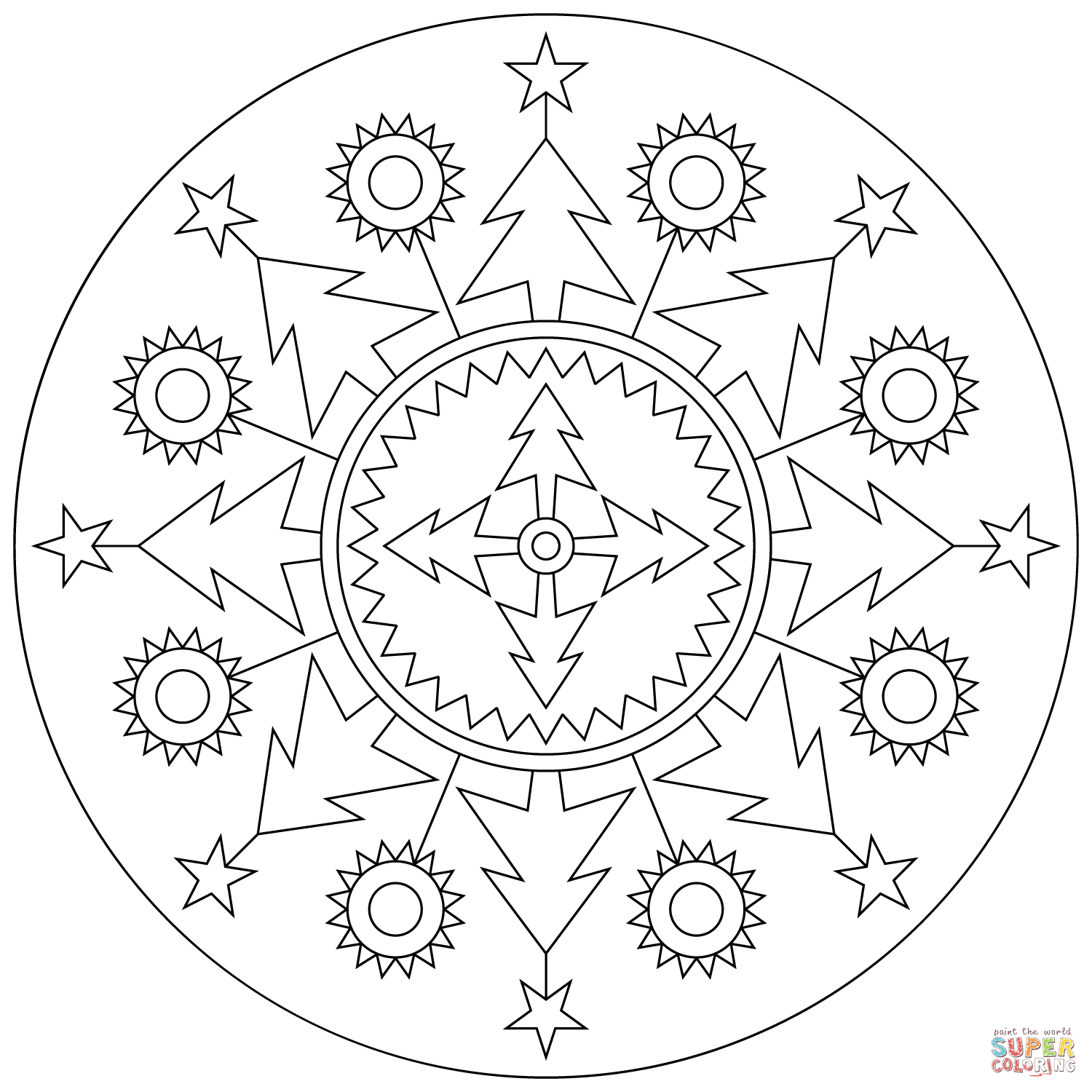 Christmas Mandala Coloring Pages Printable - AZ Coloring Pages