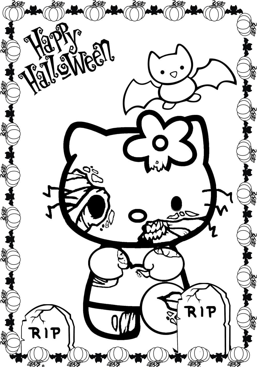 Hello Kitty Halloween Coloring Pages To Print : Hello kitty halloween coloring page az pages