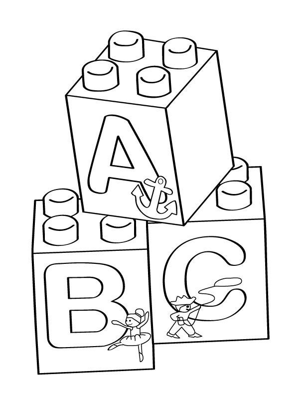 Lego A-B-C blocks coloring page - Free Printable Coloring Pages | Abc coloring  pages, Abc coloring, Lego blocks printable