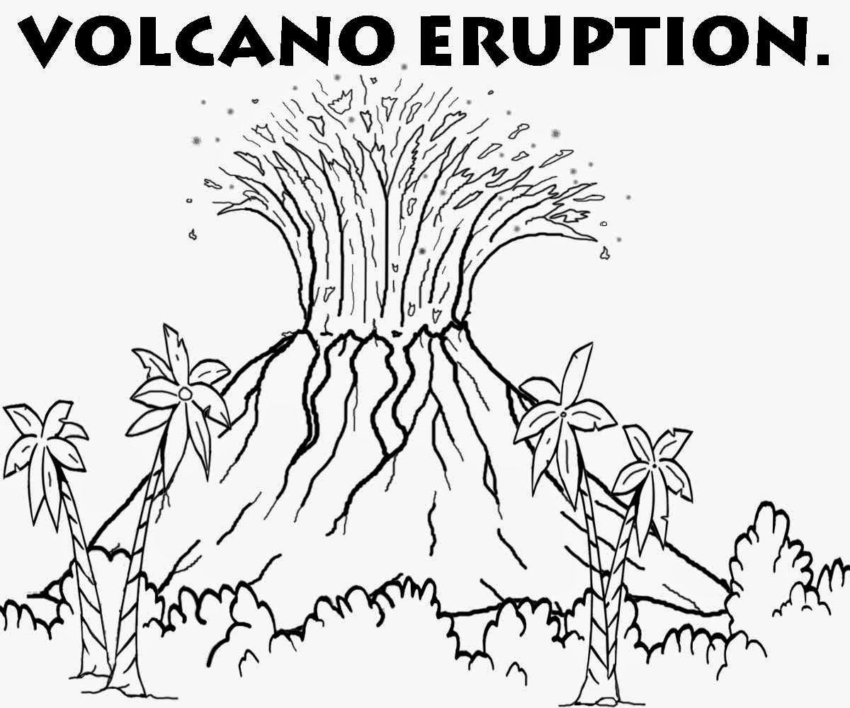 coloring pages volcano - photo #36
