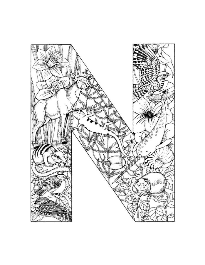 Alphabet N Coloring Page Printable - Aiwosen.com
