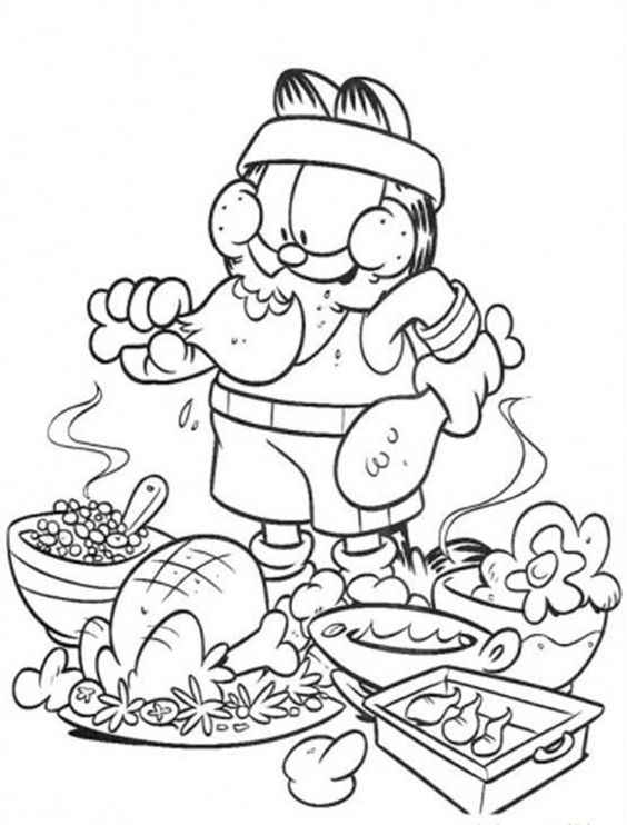 Garfield Coloring Pages Pdf : Garfield eating junk food coloring pages