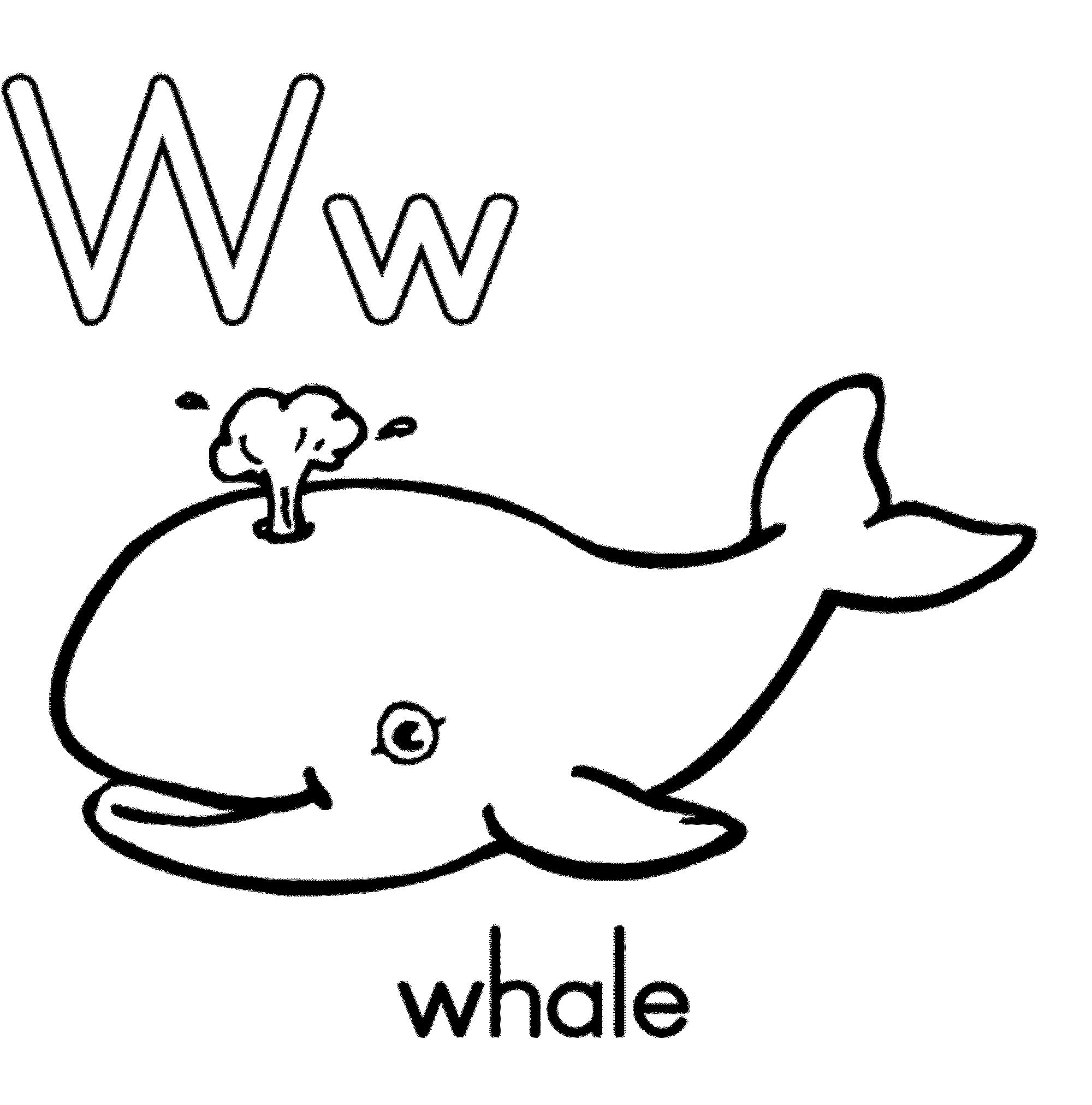 W is for whale coloring page coloring home for Printable whale coloring pages