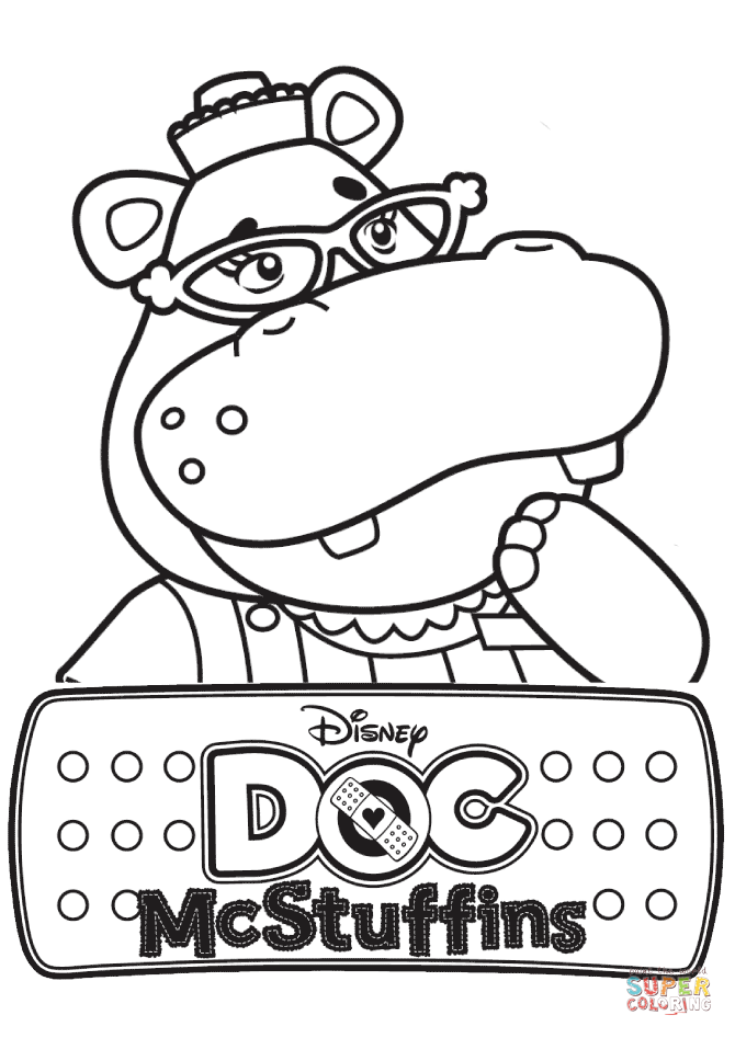 Hallie The Hippo From Doc McStuffins Coloring Page Free