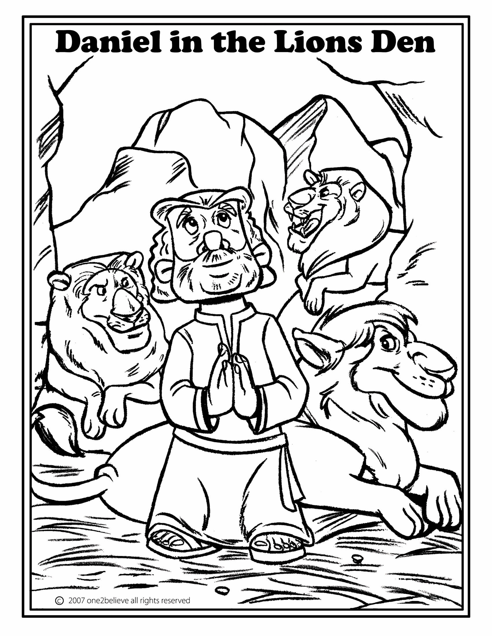 black and white bible coloring pages | Daniel In The Lion Den Coloring Pages - Coloring Home