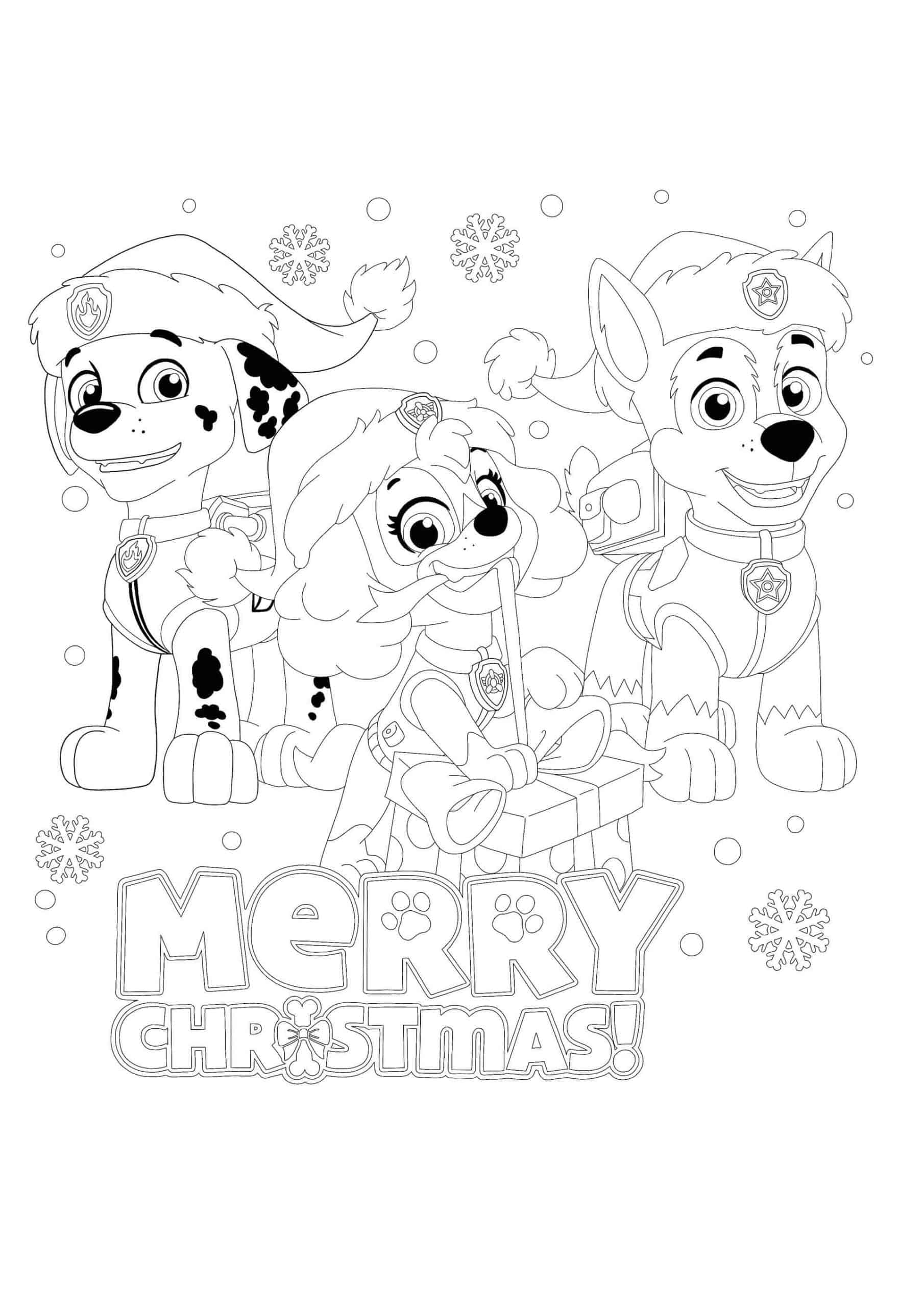Paw Patrol Christmas Coloring Pages - Coloring Home