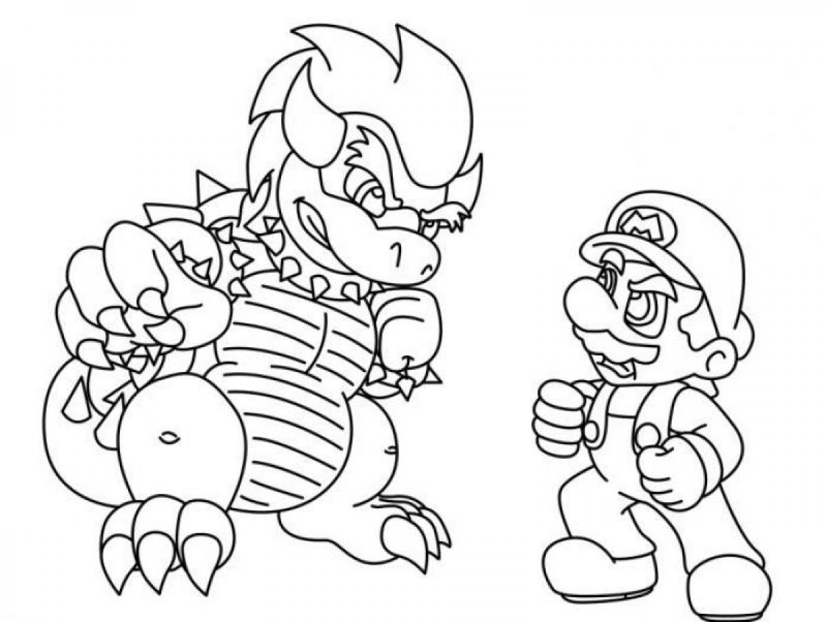 Simple Boys Bowser Mario Bros Coloring Pages Coloring Pages