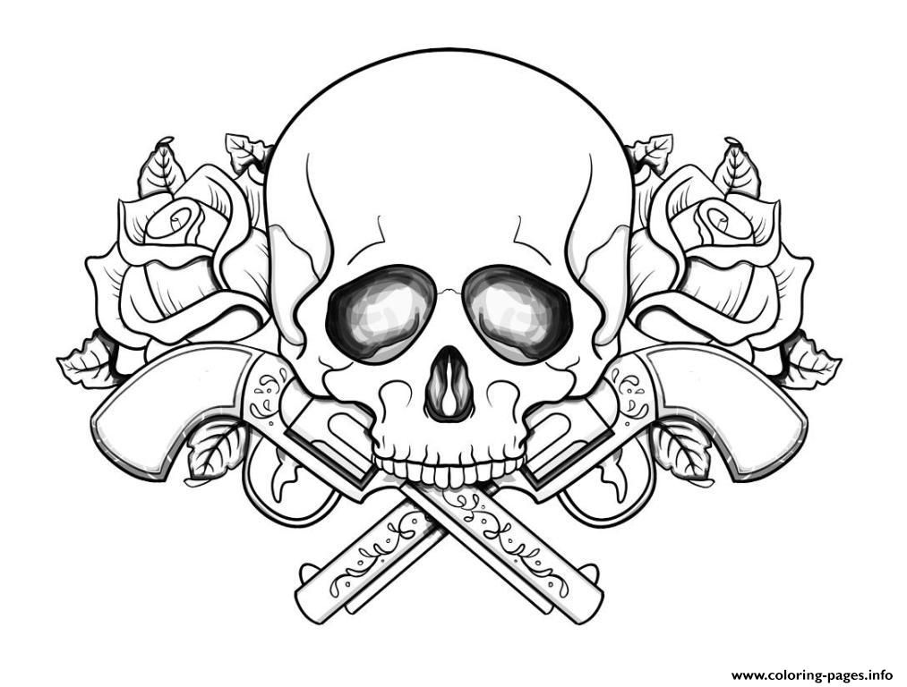Print Skull with guns flowers Coloring pages