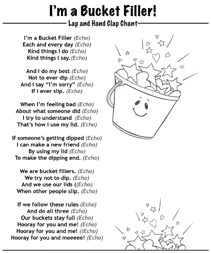 I am a bucket filler chant coloring page