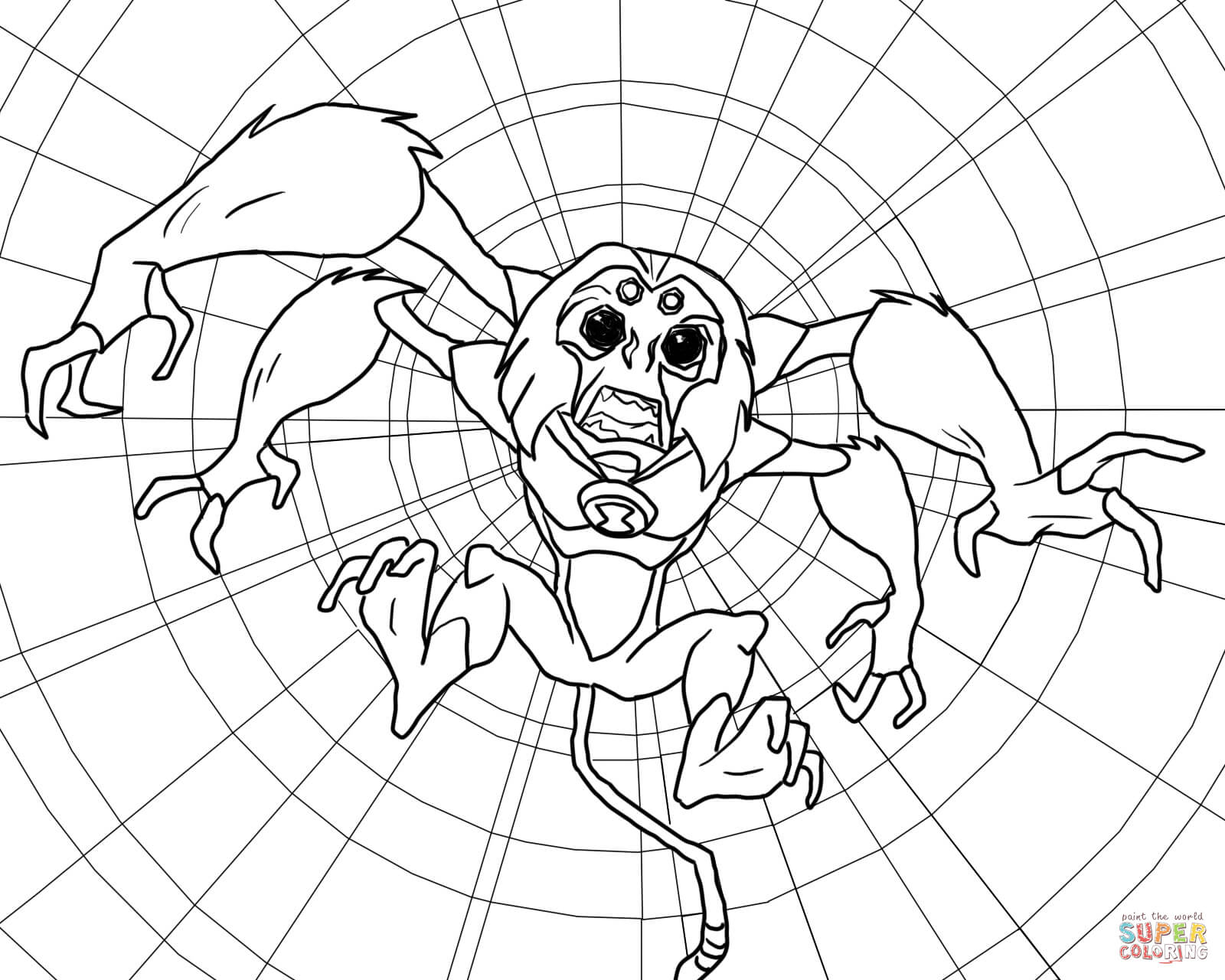 Ben 10 Alien Force Spidermonkey Coloring Page