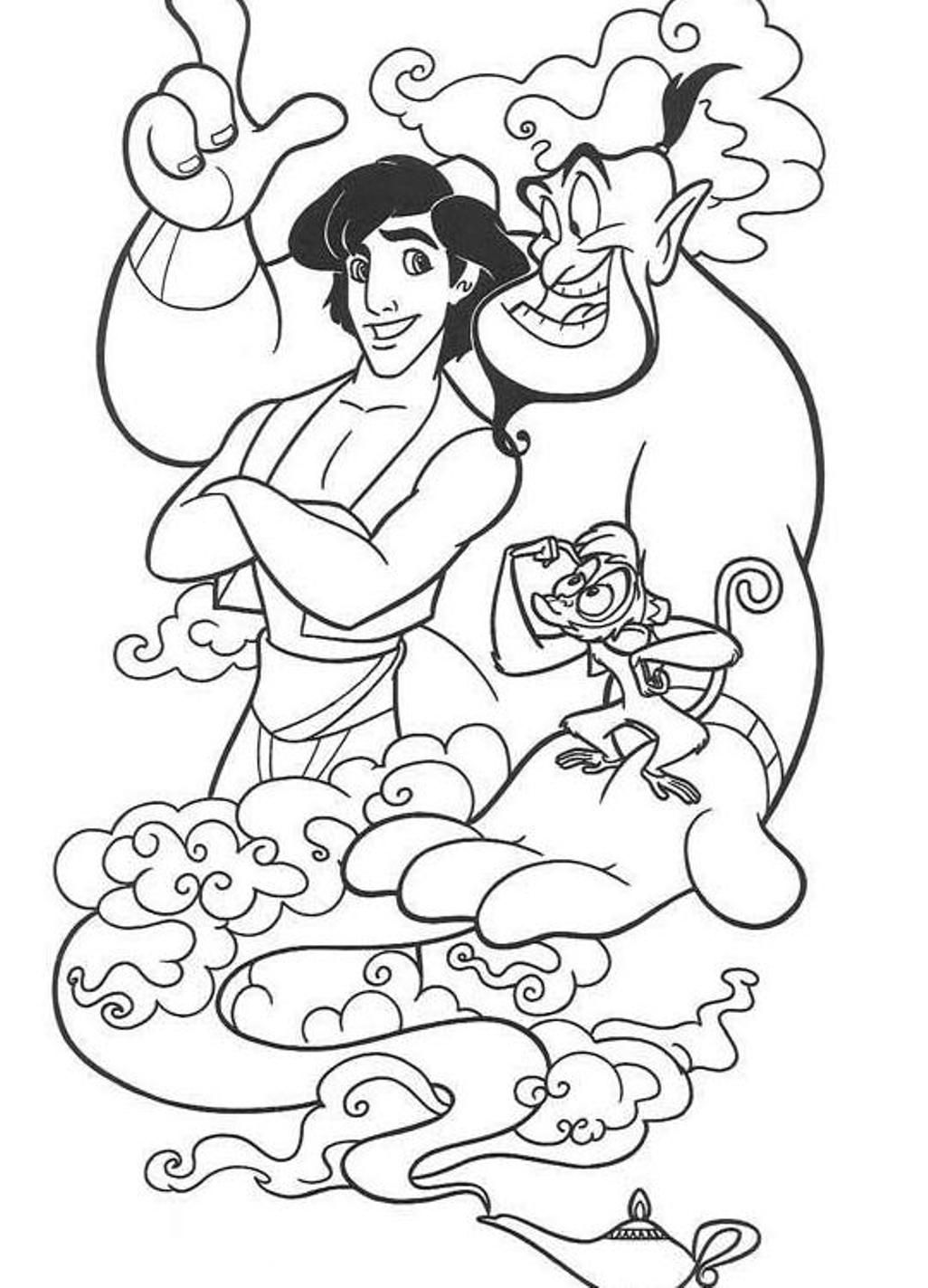 Aladdin Coloring Pages Free Download Coloring Home
