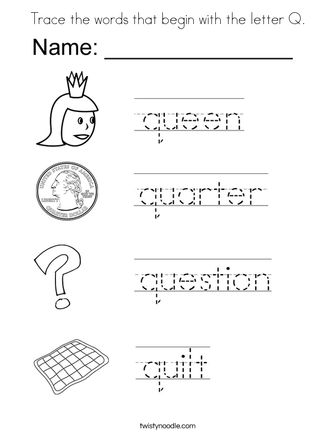 4 letter words that start with q coloring pages letter q coloring home 20143 | bcyprq9gi