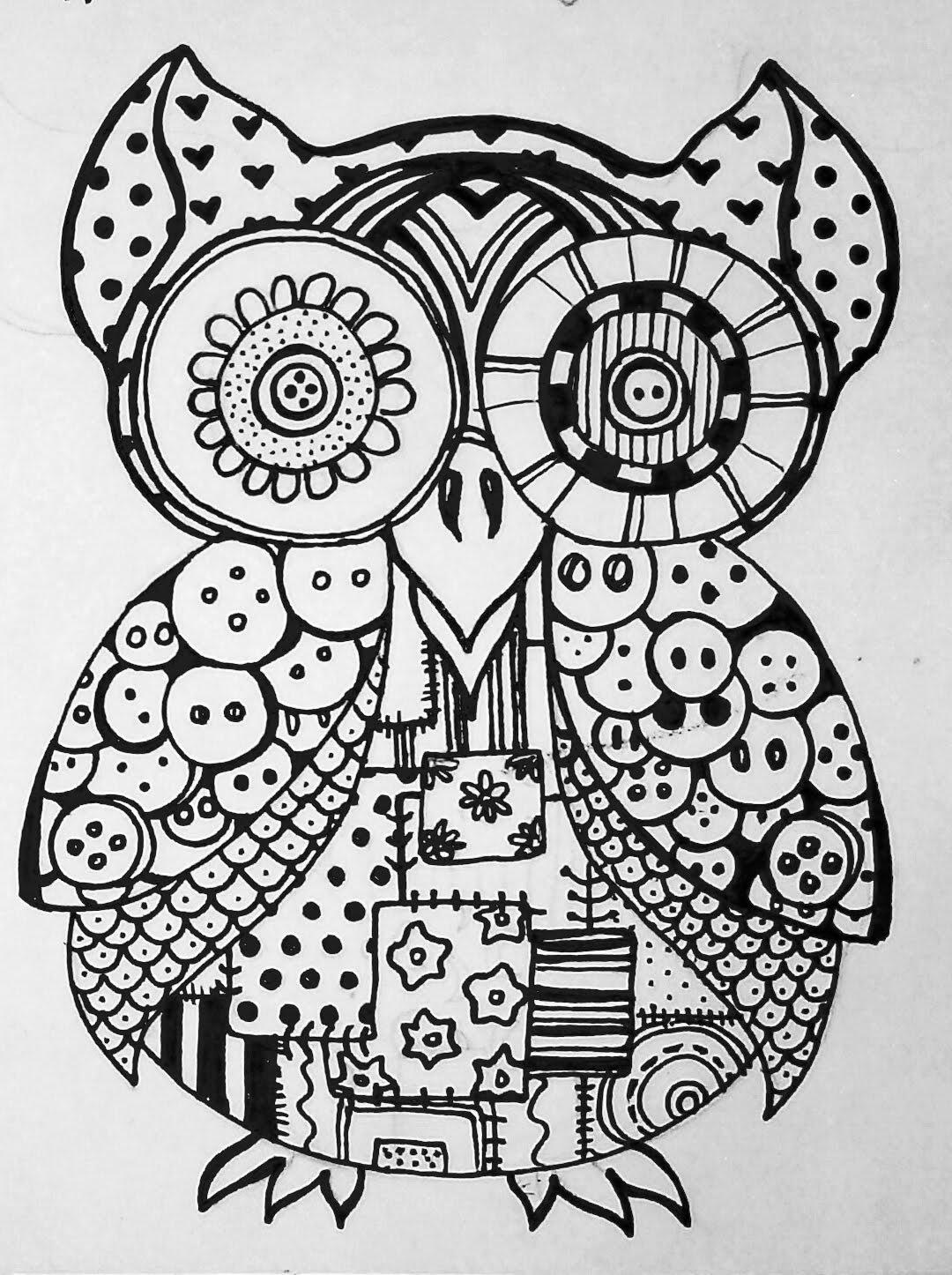 Owl Sugar Skull Coloring Page - photo#19