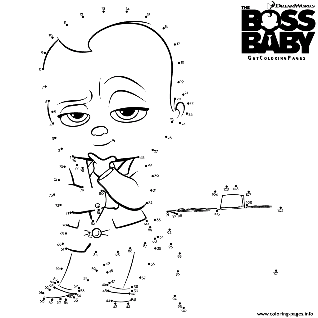 The Boss Baby Connect The Dots Coloring Pages Printable