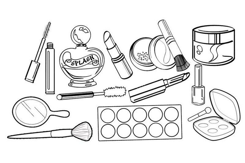professional cosmetics makeup kit coloring sheet | Makeup drawing, Coloring  pages for girls, Makeup clipart