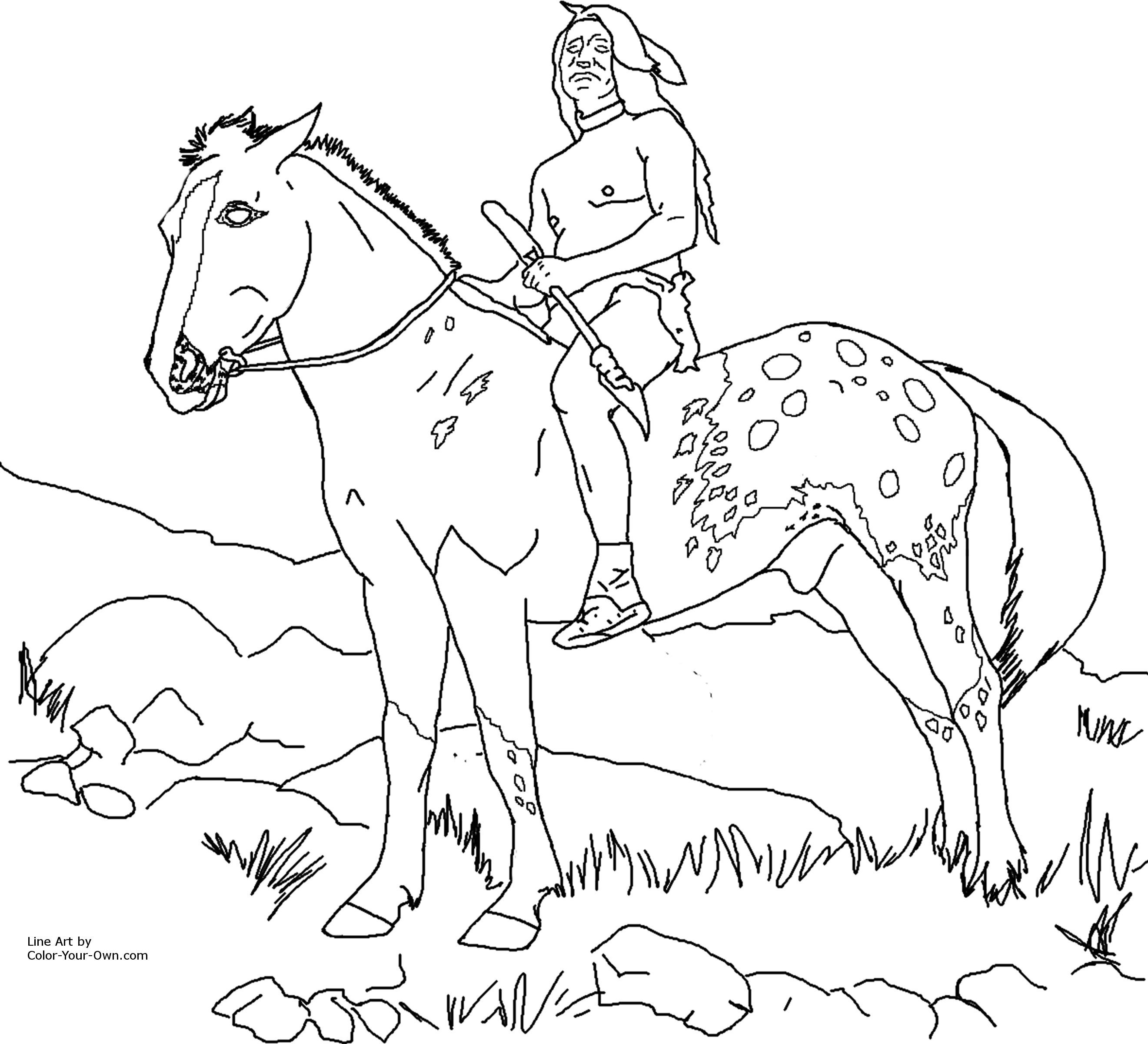 7 pics of native american horse coloring pages native american