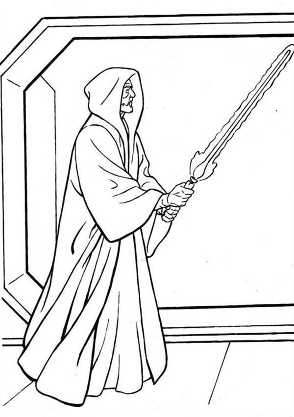 Emperor Palpatine With Light Saber Coloring Pages