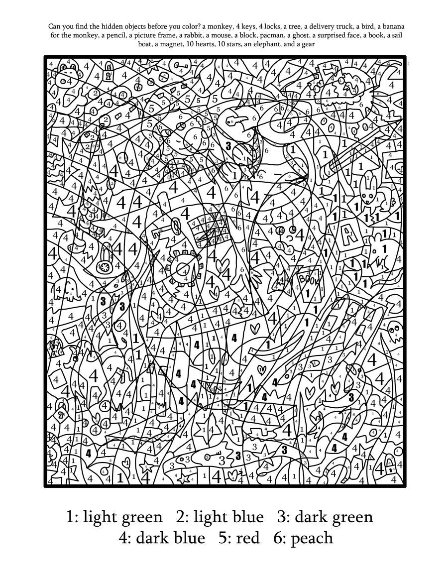 Difficult color by number printables coloring home for Hard printable coloring pages