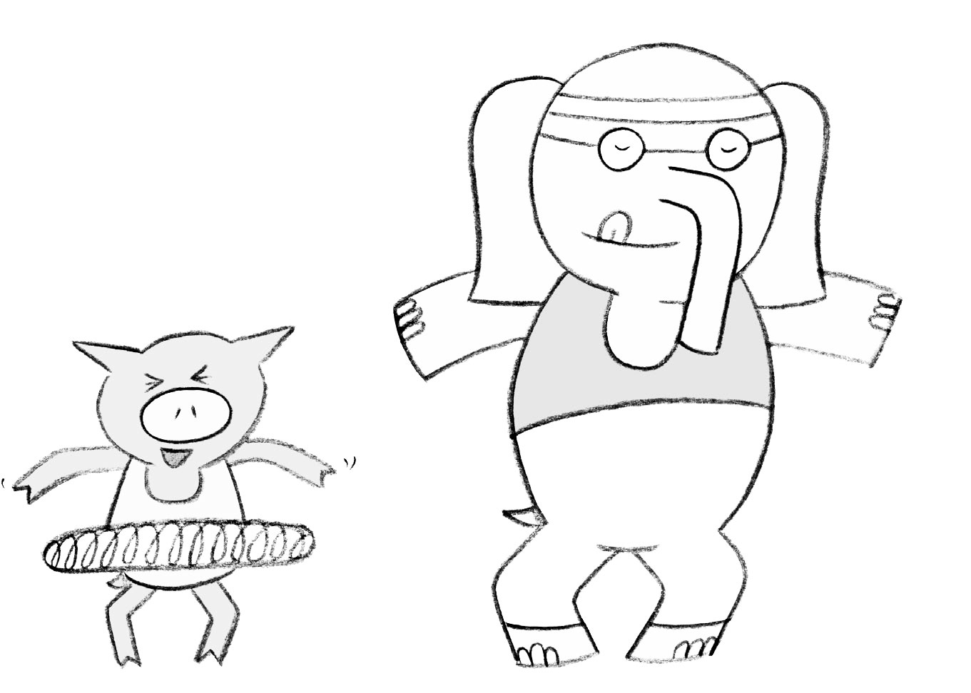 piggy and elephant coloring pages - photo#12