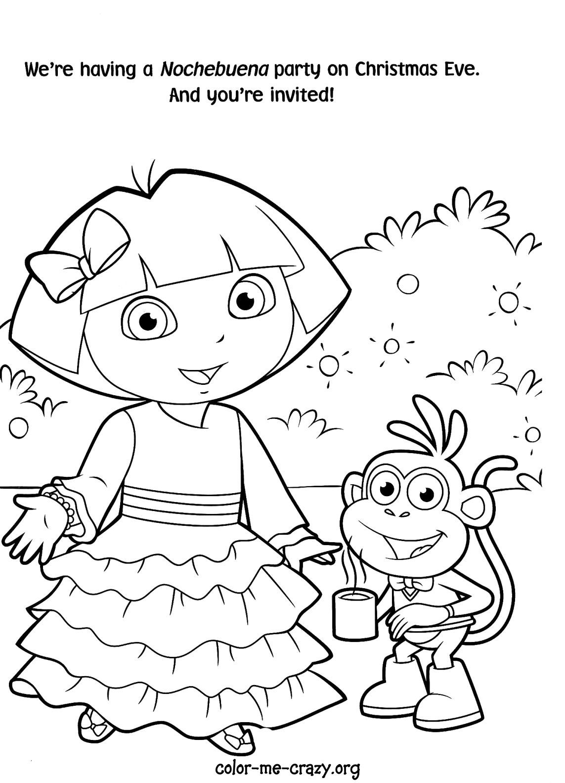 Dora color pages to print coloring home for Dora the explorer coloring page