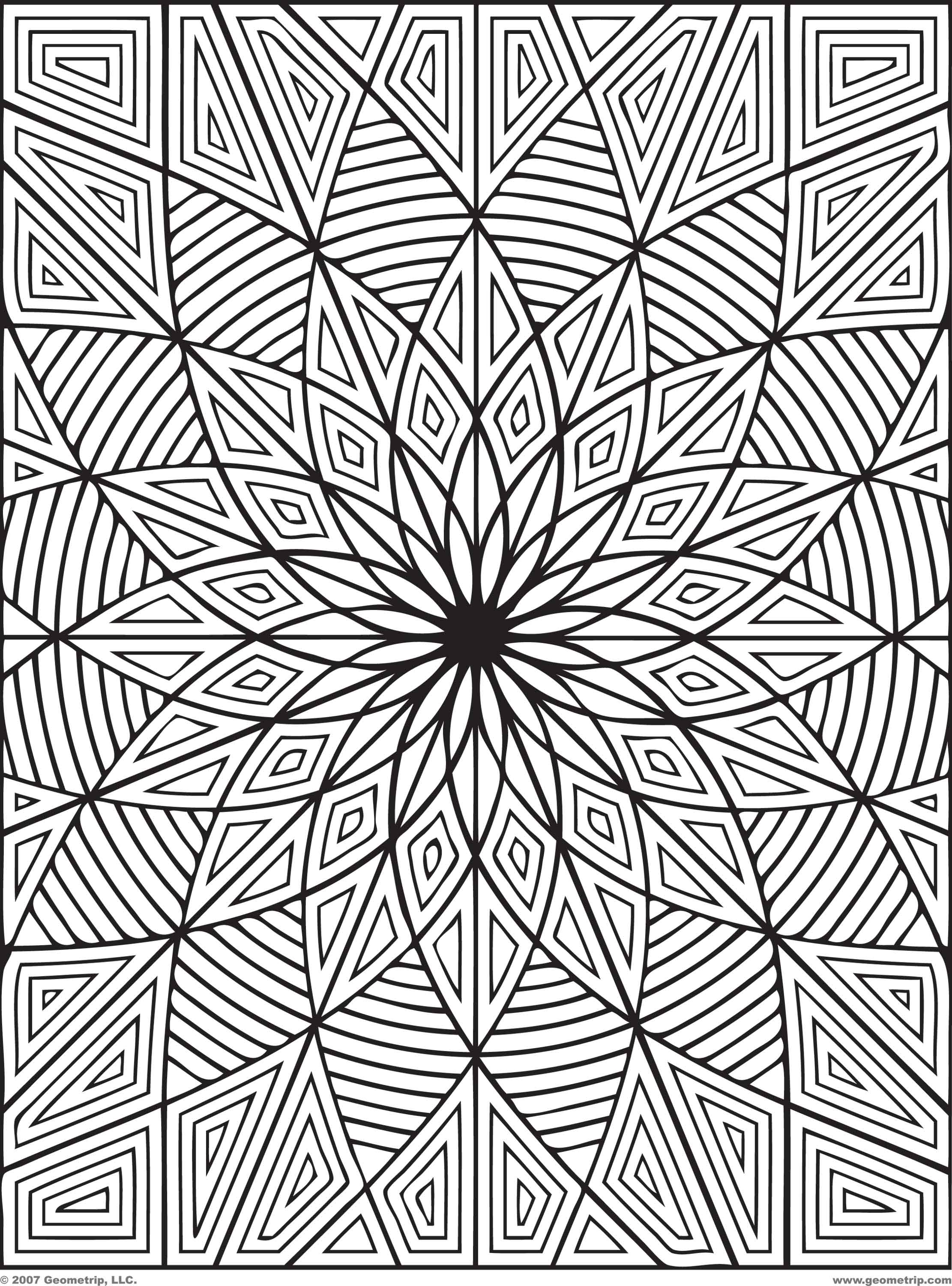 3d coloring pages printable coloring home Geometric coloring books for adults