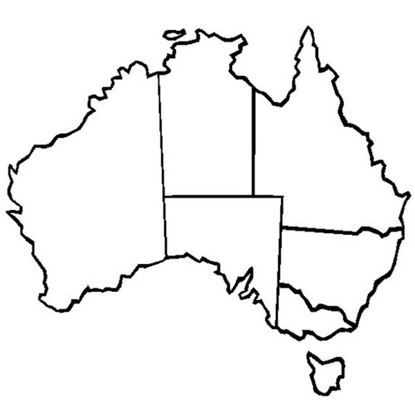 Map Of Australia Colouring In.The Map Of Australia And Its States For Australia Day