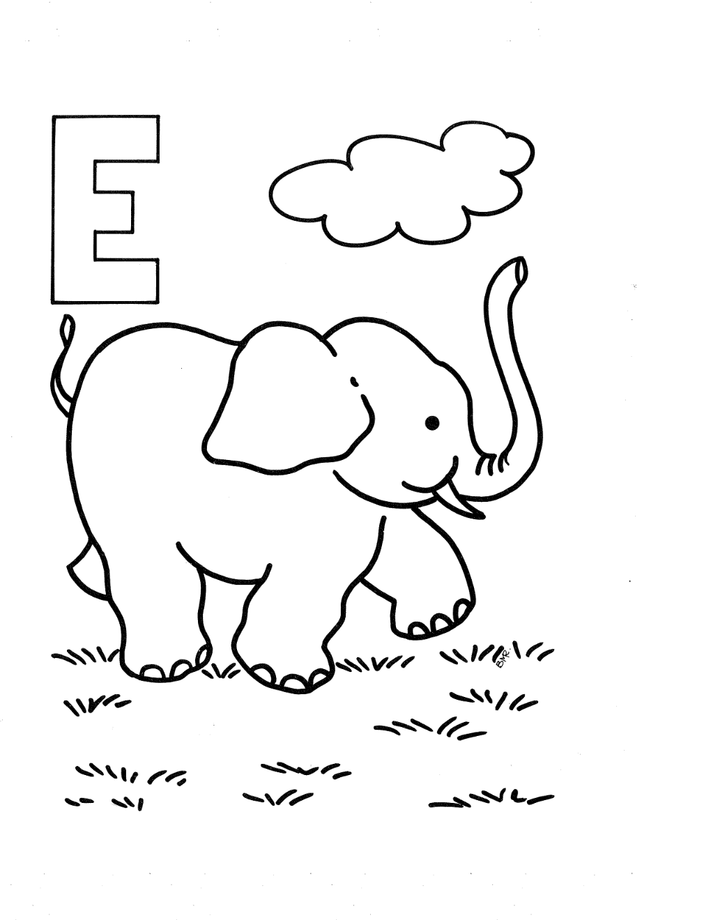 Printable letter e coloring pages - Letter E Coloring Page And Printable Free Elefante Kids Pages