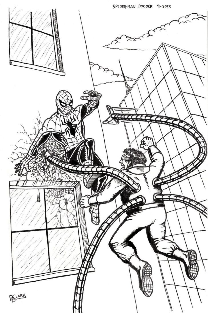 Coloring Pages Doctor Octopus Coloring Pages dr octopus coloring pages printable az spider man vs doctor inks by delaneyclark on deviantart popular pages