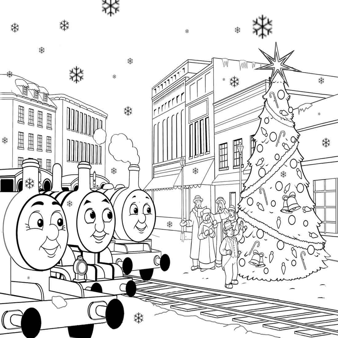 Christmas Train Cars Coloring Pages