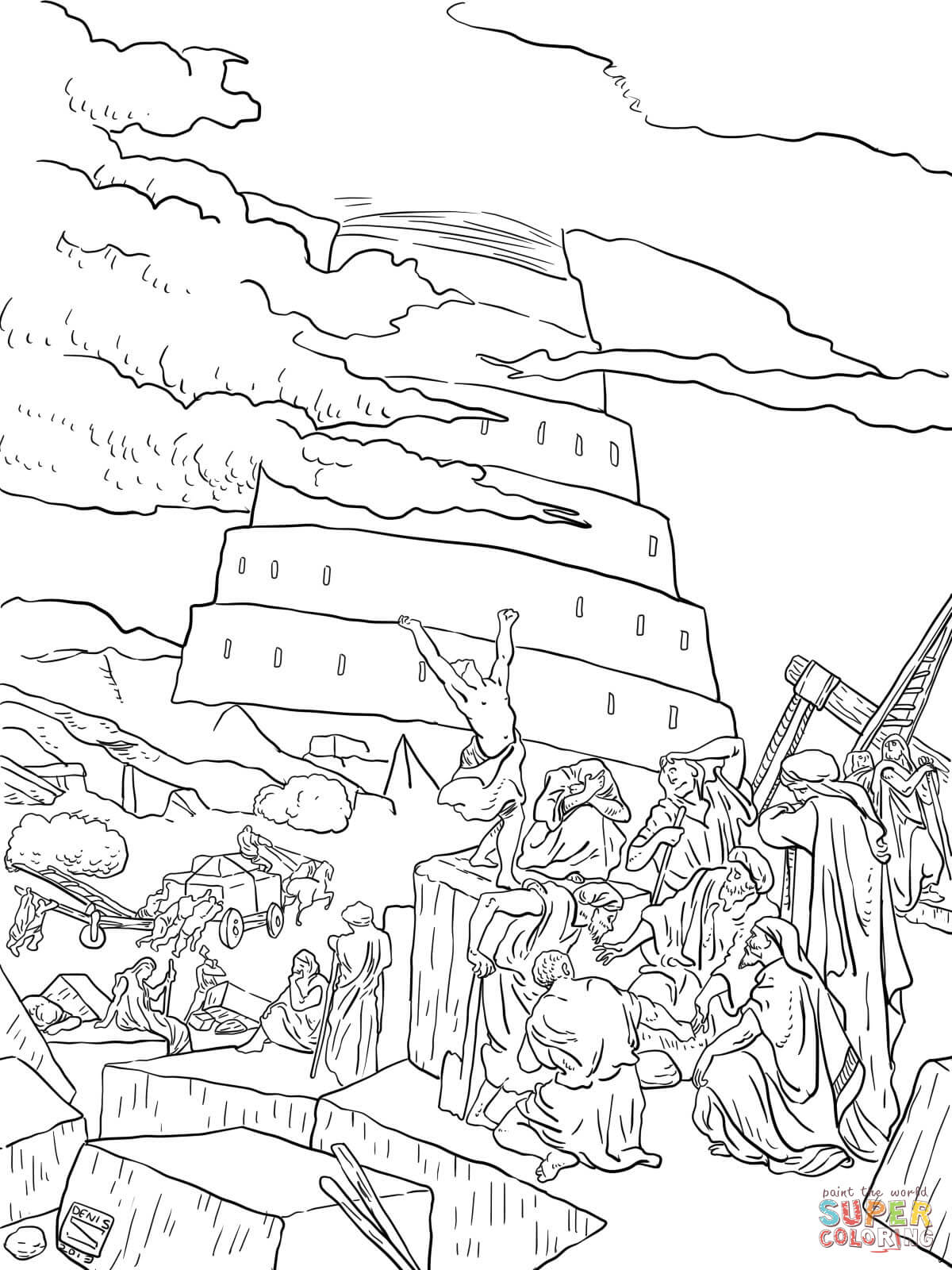 Tower of Babel and the Confusion of Tongues coloring page | Free ...