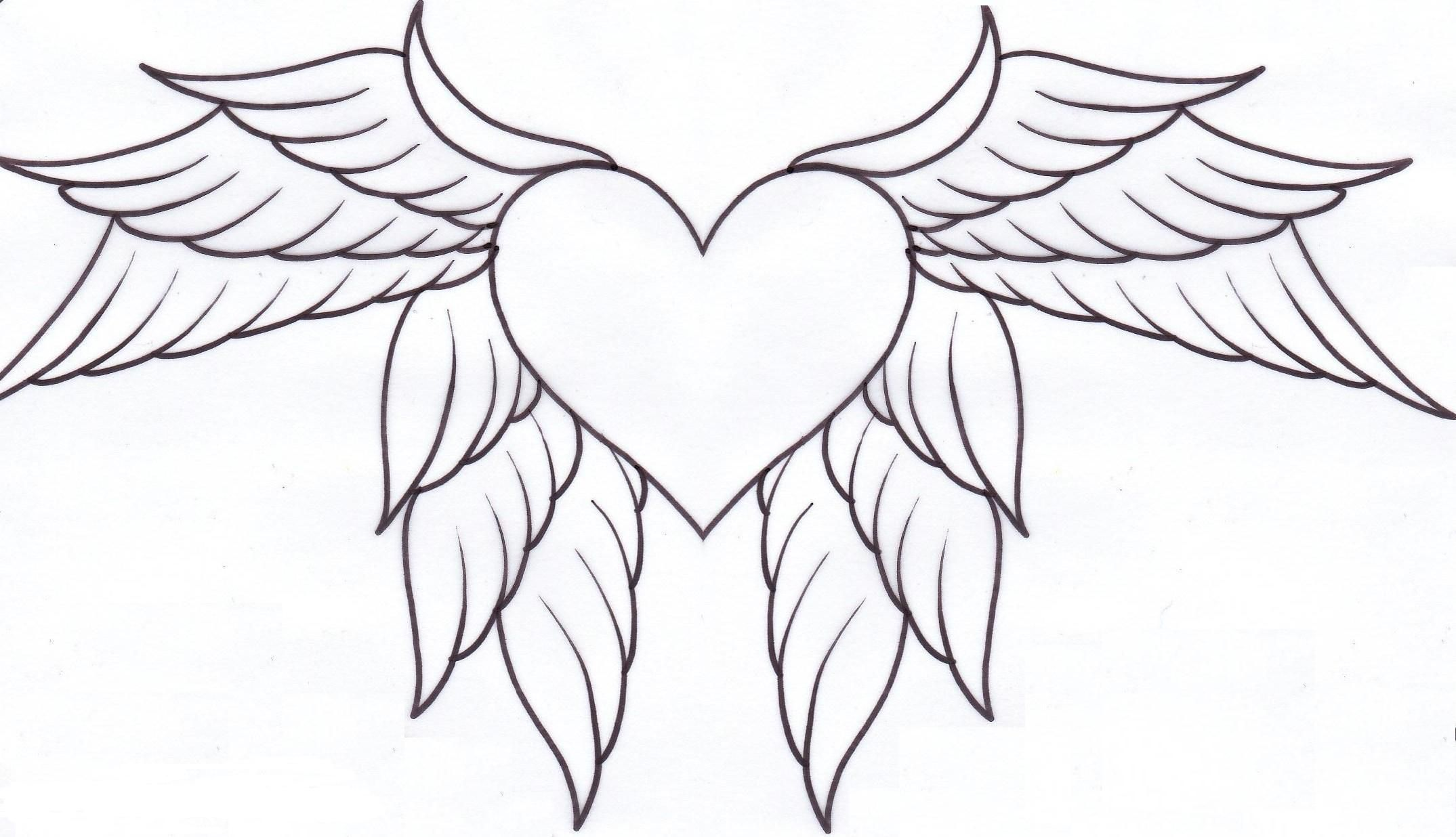 Hearts With Wings And Roses Coloring