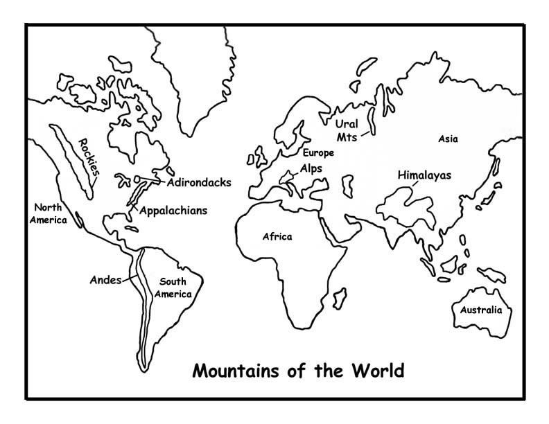 Map Coloring Pages For Kindergarten : Map of the world for kids coloring pages home