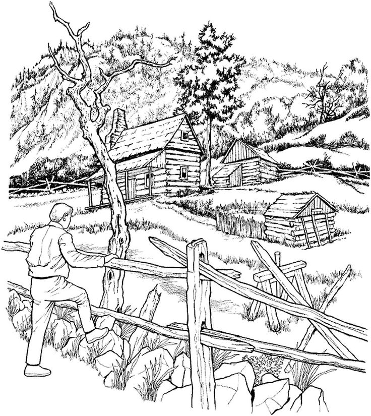 Log Cabin Coloring Pages Coloring Home